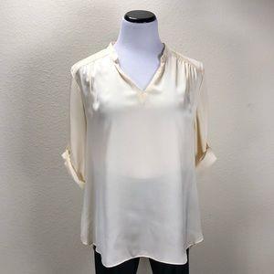 ABS Cream Satin 3/4 Sleeve V-Neck Tunic